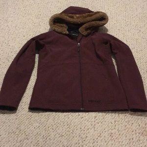 Marmot Medium Jacket Hooded Soft Shell Faux Fur